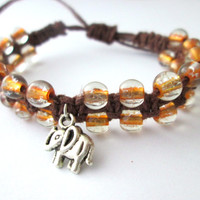 Elephant Bracelet Boho Jewelry Hemp Bracelet Gold Brown Glass Beaded Macrame Bracelet