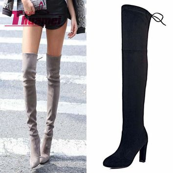 Over the Knee Womens Boots Booties Knee High Boots Black Boots Ladies Boots Shoe