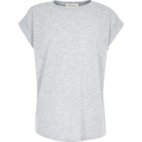 River Island Girls grey chiffon back short sleeve top