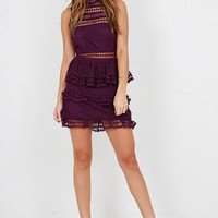 Layered Ruffle Mini Dress - Eggplant
