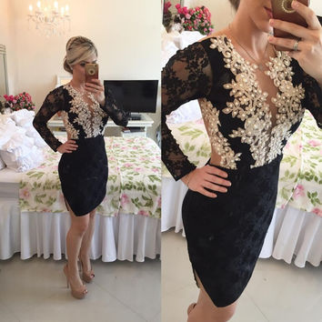 Long Sleeve Black Lace Short Cocktail Dress With Pearls 2017 Sexy See Through Back Side Split Mini Prom Party Gowns