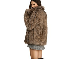 Brown Feeling Yourself Faux Fur Coat