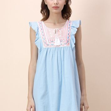Tribes Favor Sleeveless Babydoll Dress in Blue