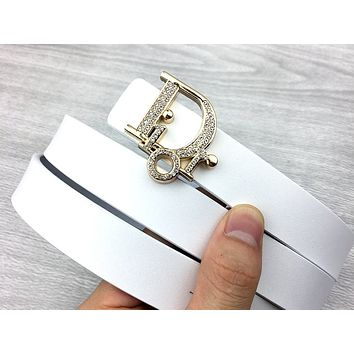 Dior Tide brand women's simple personality wild smooth buckle belt white