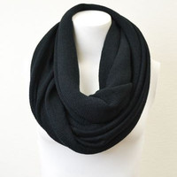 Solid Black Knit Infinity Scarf, Infinity Scarfs, Knitted Infinity Scarves, Loop Scarves, Circular Scarfs