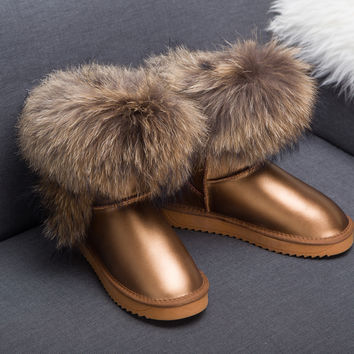 Cow Snow Boots 100%Genuine Leather Snow Bootes Ankle Big Natural Fox Fur Raccon Fur Boots Black Waterproof Women Winter Shoes