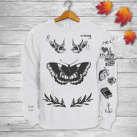 Harry Styles Tattoos One DIRECTION 1D Crewneck  Sweatshirt  Sweater and Hoodie Jumper in Grey White