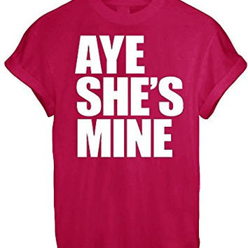 AYE HE'S SHE'S MINE MICKEY MOUSE HAND PRINTED t shirt Top Tee size XS S M L XL - Red