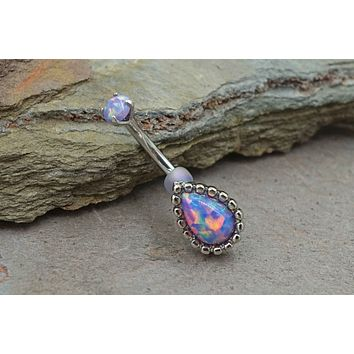 Purple Fire Opal Daith Rook Eyebrow Ring Piercing