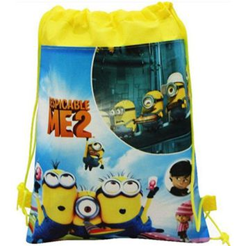 Children pre-school non-woven bags Minions cartoon printed drawstring backpacks toys storage for kids boys & girls free shipping