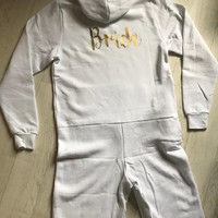 Bride Onesuit, outfit, white, Personalised Onesuit, All in one, lounge, lounging bottoms, pyjamas, wedding, hen party, snug suit, pjs