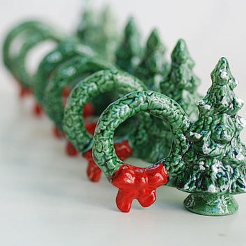 vintage ceramic christmas napkin holders vintage by TheNewtonLabel