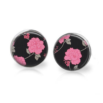 Black and Pink Glass Art Studs Post Earrings Tiny Rose Stud Earrings Hot Pink Black Background Vintage Victorian Floral Print Design Pattern