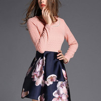 Pink and Blue Floral Print Pearl Beaded Collar Long Sleeve Mini Dress