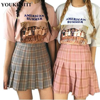 YOUKENITI New Autumn Kpop High Waist Abdomen Skinny Plaid Pleated Skirt Preppy Style Cute Women's Mini Skirts Two Colors