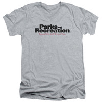 PARKS & REC/LOGO - S/S ADULT V-NECK - HEATHER -
