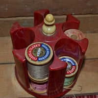 Vintage Sewing Thread Spool Holder - Red Marbled Plastic by Victory of Chicago w/ 6 Wood spools