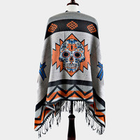 Day of the Dead Sugar Skull Aztec Fringe Poncho - Blue
