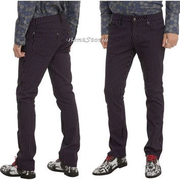 "Licensed cool TRIPP Black & Purple Pinstripe Mens Skinny Pants Jeans 26"" Waist Joker Cosplay"