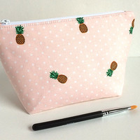 Pineapple Makeup Bag, Small Makeup Bag, Pink Cosmetic Case, Pineapple Zipper Pouch
