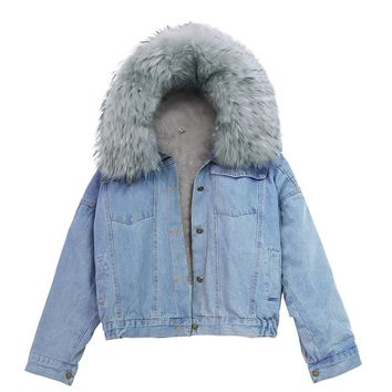 2018 Fashion Loose Women's Clothing Fall Winter Female Coat Big Warm Fur Collar Hooded Denim Jacket Women Chaqueta Mujer