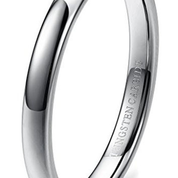 3mm Tungsten Carbide Wedding Band Rings Engagement Promise Domed (Platinum)