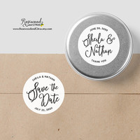 Personalized Wedding Stickers, Save the Date Sticker, Custom Wedding Labels, Modern Wedding Favor Label, Round Wedding Favor Sticker