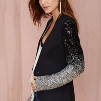 Black Sequin Lapel Top