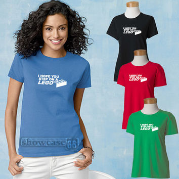I hope you step on a LEGO women's t-shirt  FREE Shipping      Fun Geeky t-shirt, Great Gift, Scoop Neck Tee,