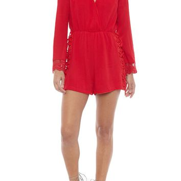 Lace Romper - Red