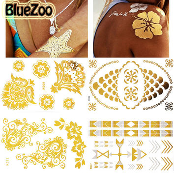 BlueZoo 1Sheet Europe Metallic Tattoo Stickers Waterproof Transferable Body Art Jewelry Temporary Tatoo Body  Makeup Tips