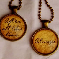 Harry Potter Always Necklace Set. Best Friends Necklace Set. Couples Necklace Set. 18 Inch Ball Chains.