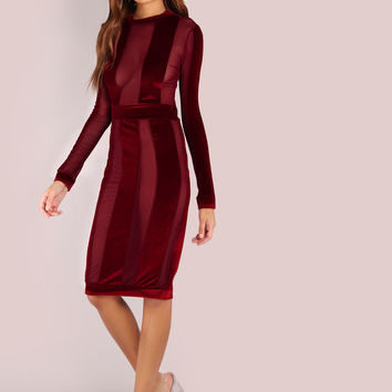 Burgundy Velvet Bodycon Dress