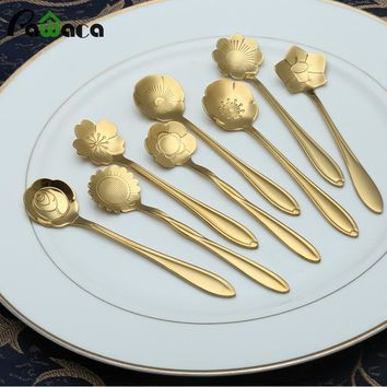 8pcs/set Flower Shape Stainless Steel Tea Coffee Spoon Teaspoons Ice Cream Sugar Flatware Sliver Gold Tableware Kitchen Tools