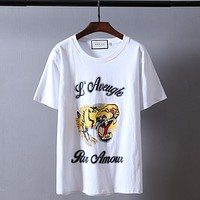 """Gucci""Hot letters print T-shirt top white tiger head"
