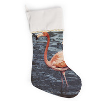 "Angie Turner ""Pink Flamingo "" Animals Blue Christmas Stocking"