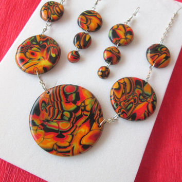 polymer clay jewelry,polymer clay earrings,orange,gift for wife christmas,christmas gift for mom,unique jewelry gifts,jewelry set,colorful