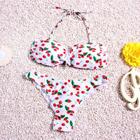 2016 Latest Plus Size Cherry Bikini Women Sexy Beach Low Waist Batching Sexy Girls Party Swimsuit with Cehnter Bow Fardas