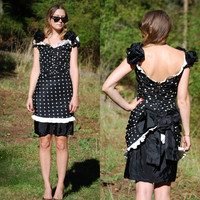 80's Polka Dot Dress, Off The Shoulder French Maid Dress Halloween Costume, Frilly Black and White Polka Dot Dress With Back Bow, Size Small