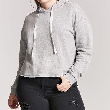 Plus Size Boxy Raw-Cut Pullover Hoodie
