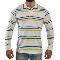 Mardi Gras Long Sleeve Polo Shirt (Thin Stripes)