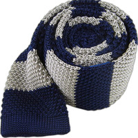 Knit Repp Stripe - Navy/Silver   Ties, Bow Ties, and Pocket Squares   The Tie Bar