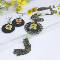 Boho Pendant and earrings hand embroidered jewelry Yellow sunflowers gemstone beads Ukrainian bohemian floral black jewelry Gift for her