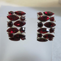 Clip On Earrings, Stunning Vintage Red Rhinestone Half Hoop Clip On Earrings
