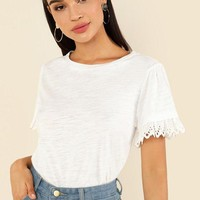 Cotton T-Shirt with Eyelet Lace Trim Sleeves