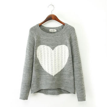 Autumn Winer New Fashion Women's Heart Pattern Knitted Pullover Sweaters Gray Blue