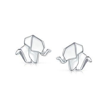 3D Origami Good Luck Wise Elephant Stud Earrings 925 Sterling Silver
