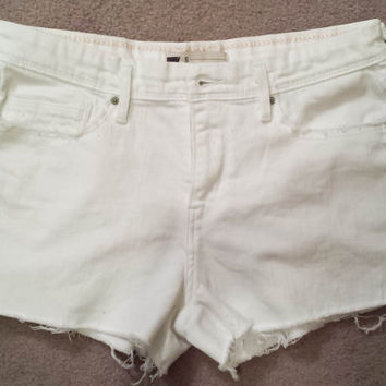 Vintage High Waisted LEVIS Shorts, White Denim, Cut Off, Destroyed, Short & Sexy, Levis High Waist Cutoff Shorts
