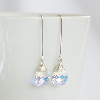 Long Swarovski Crystal Teardrop Earrings, Crystal AB Drop Earrings, Silver and Crystal Dangle Earrings