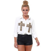 Studded Cross Blouse